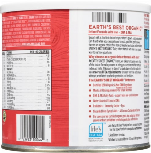 Earth's Best Organic® Infant Formula with Iron Perspective: back