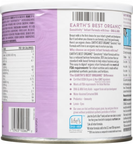 Earth's Best Organic® Sensitivity with Iron Milk-Based Powder Infant Formula Perspective: back