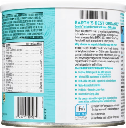 Earth's Best Organic® Gentle with Iron Milk-Based Powder Infant Formula Perspective: back