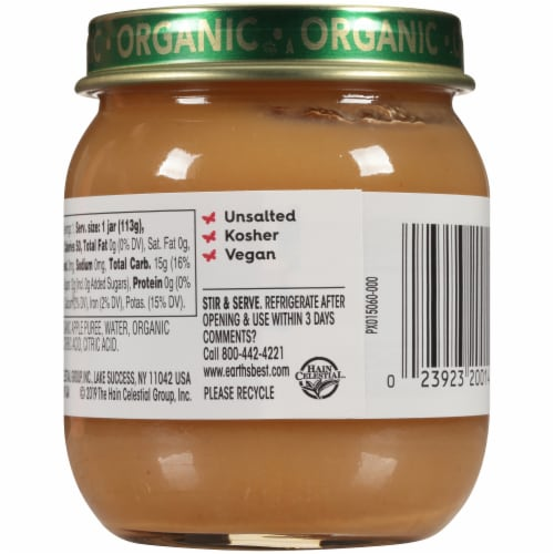 Earth's Best Organic Apples & Plums Stage 2 Baby Food Perspective: back
