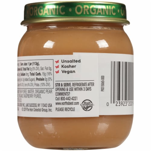 Earth's Best Organic Pears & Raspberries Stage 2 Baby Food Perspective: back
