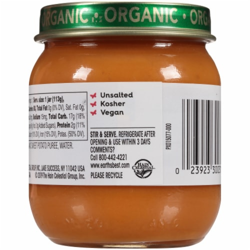 Earth's Best Organic Sweet Potatoes Stage 2 Baby Food Perspective: back