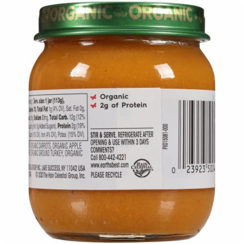 Earth's Best Organic Vegetable Turkey Dinner Stage 2 Baby Food Perspective: back