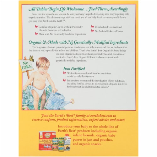 Earth's Best Organic Whole Grain Rice Cereal Baby Food Perspective: back