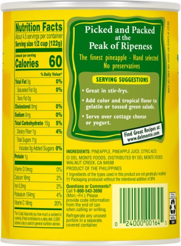 Del Monte® Pineapple Chunks in 100% Juice Perspective: back