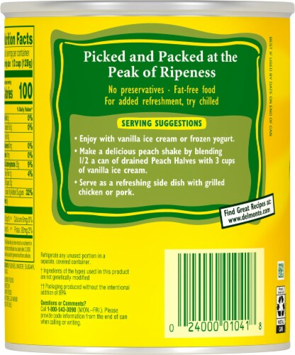 Del Monte® Yellow Cling Peach Halves in Heavy Syrup Perspective: back
