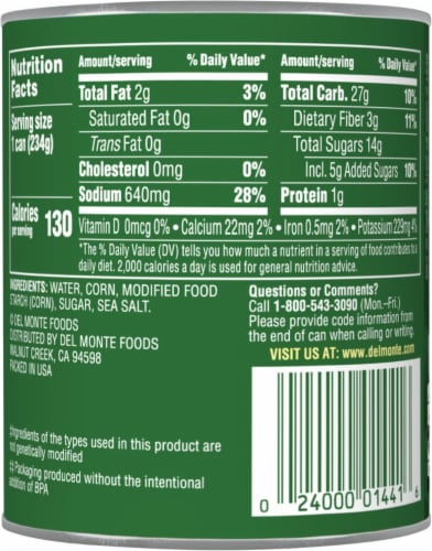 Del Monte® Fresh Cut Cream Style Sweet Corn with Natural Sea Salt Perspective: back