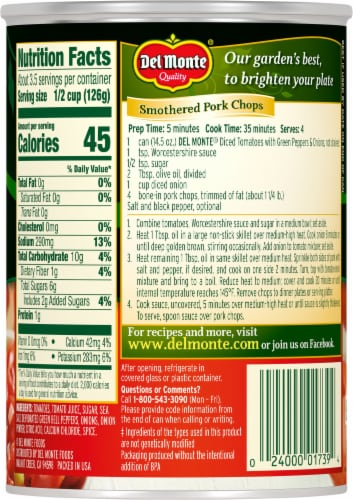 Del Monte® Diced Tomatoes with Green Pepper & Onions Perspective: back