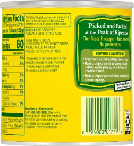 Del Monte® Pineapple Tidbits in 100% Juice Perspective: back
