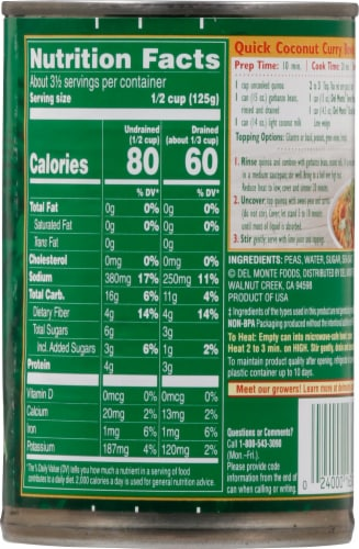 Del Monte® Farm Choice Sweet Peas with Natural Sea Salt Perspective: back