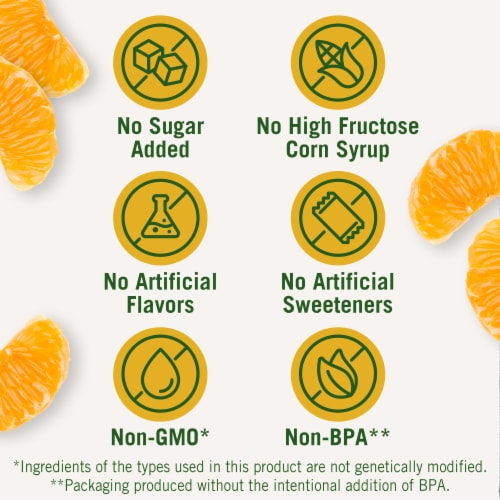 Del Monte® No Sugar Added Mandarin Oranges Fruit Cups Snacks Family Pack Perspective: back