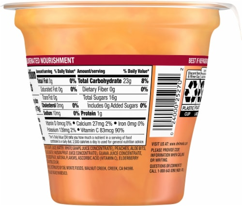 Del Monte® Glow On Peaches in Passion Fruit Guava Flavored Juice Fruit Cup Perspective: back
