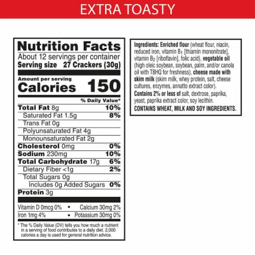 Cheez-It Baked Snack Cheese Crackers Extra Toasty Perspective: back