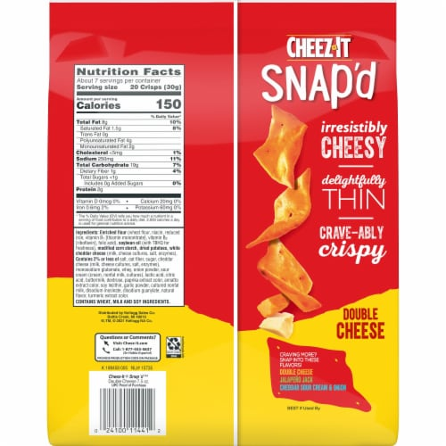 Cheez-It Snap'd Cheesy Baked Snacks Double Cheese Perspective: back