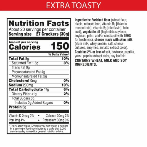 Cheez-It Extra Toasty Cheese Baked Snack Crackers Family Size Perspective: back