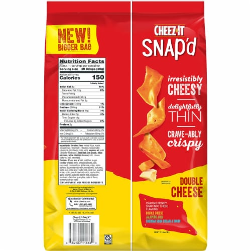 Cheez-It Snap'd Double Cheese Crackers Family Size Perspective: back