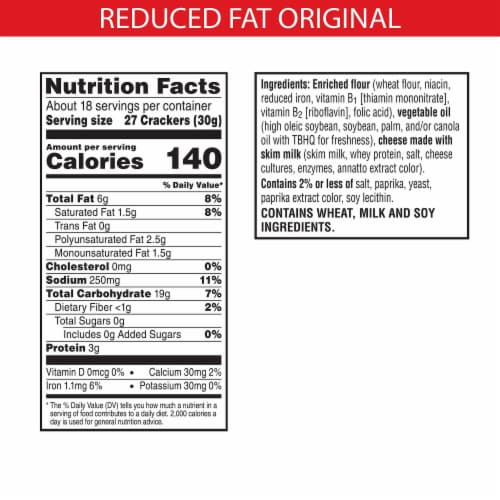 Cheez-It Baked Snacks Reduce Fat Original Cheese Crackers Perspective: back