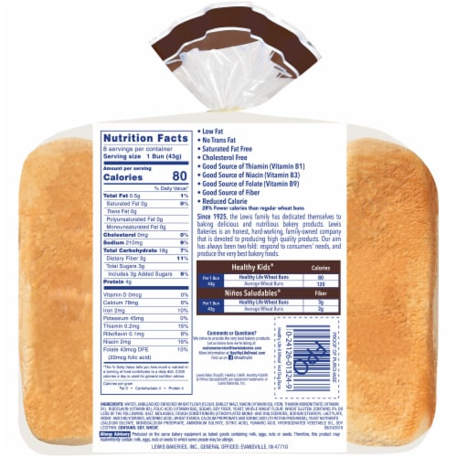 Healthy Life® Wheat Hot Dog Buns Perspective: back