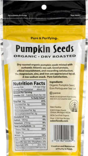 Eden Organic Pumpkin Seeds Dry Roasted Perspective: back