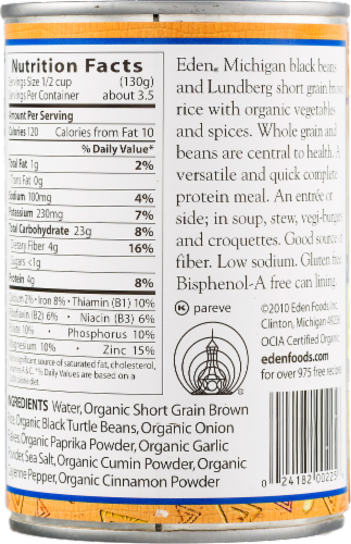 Eden Organic Caribbean Rice & Beans Perspective: back