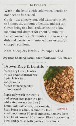 Eden Organic Green Lentils Perspective: back
