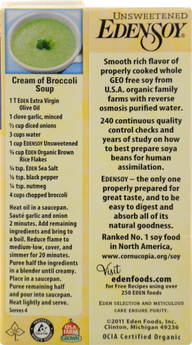 Organic Edensoy Unsweetened Soy Milk Perspective: back