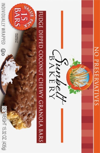 Sunbelt Bakery Fudge Dipped Coconut Chewy Granola Bars Variety Pack Perspective: back