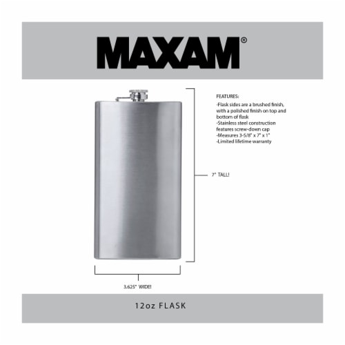 Maxam Stainless Steel Flask with a Screw-On Leak Proof Lid Polished Silver 12 Ounce Perspective: back