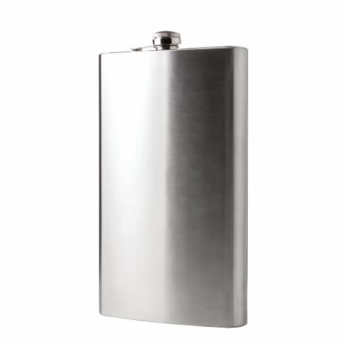 Maxam  64 Ounce Stainless Steel Flask Dishwasher Safe Extra Large Drinking Flask Perspective: back
