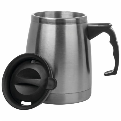Maxam Double Wall Stainless Steel Boat Mug 16 Ounce Wide Non-Slip Base Perspective: back