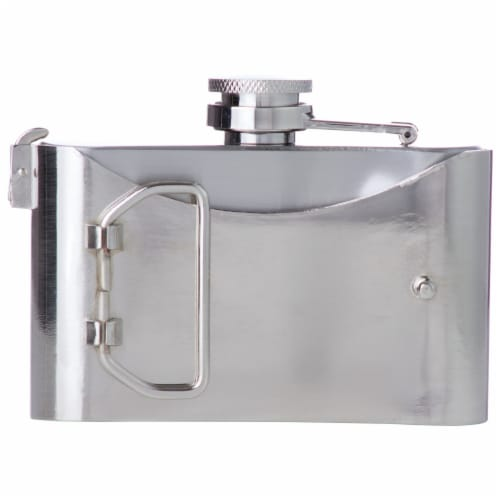Maxam 3 Ounce Belt Buckle Stainless Steel Flask Drinking Flask with a Screw-On Leak Proof Lid Perspective: back