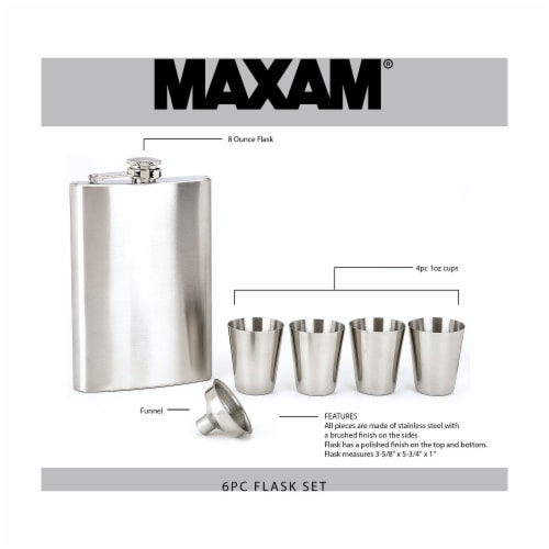 Maxam 6-piece Stainless Steel Flask Set Low-Cost High-Quality Addition to any Home Bar Perspective: back