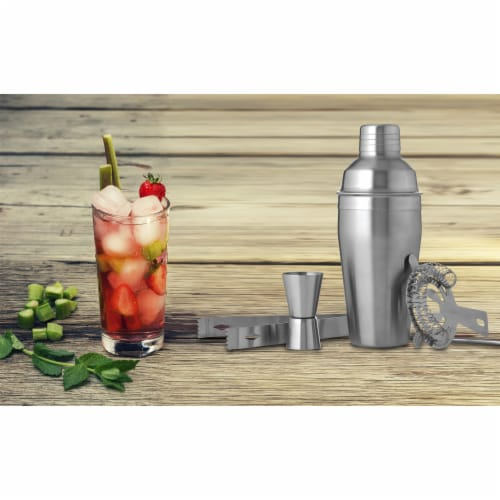Wyndham House Cocktail Shaker Set for the Home Bar Stainless Steel 5-Piece Perspective: back