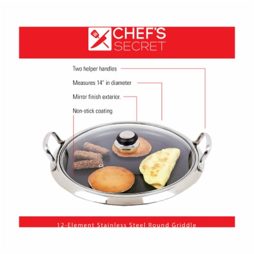 Chef's Secret by Maxam 12-Element Stainless Steel Round Griddle Perspective: back