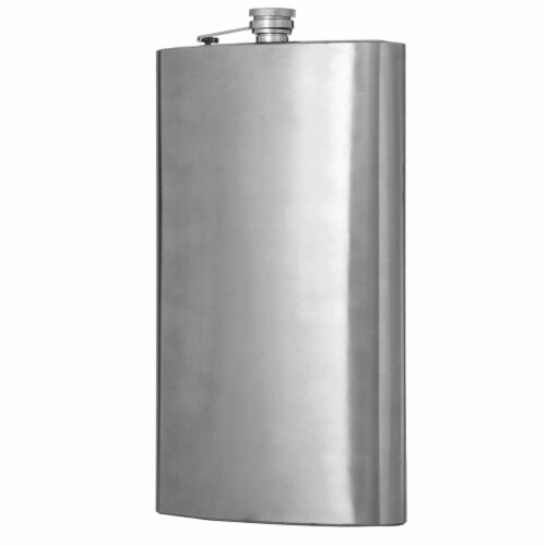 Maxam  Stainless Steel Flask Extra Large Drinking Flask Polished Silver 1 Gallon Capacity Perspective: back