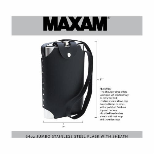 Maxam Jumbo Stainless Steel Flask with Sheath and Shoulder Harness 64-ounce Perspective: back