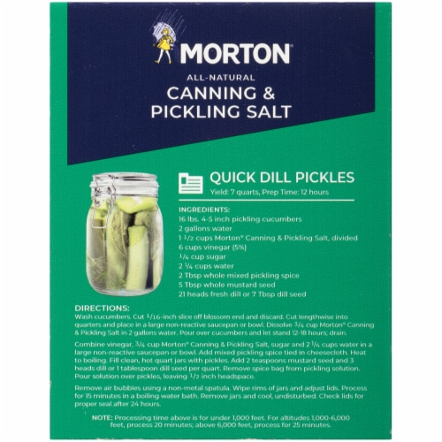 Morton All Natural Canning and Pickling Salt Perspective: back