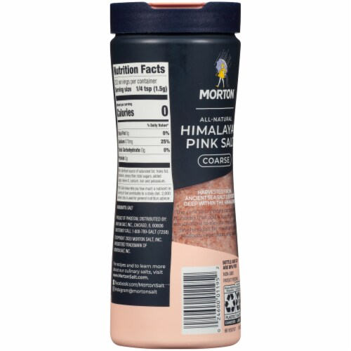Morton All Natural Coarse Himalayan Pink Salt Shaker Perspective: back