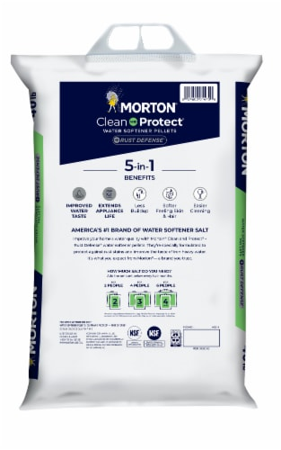 Morton Clean & Protect + Rust Defense Water Softener Pellets Perspective: back