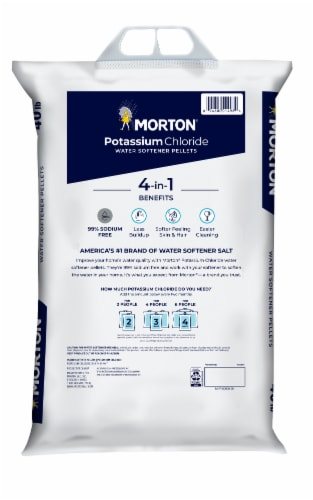 Morton Potassium Chloride Water Softener Pellets Perspective: back