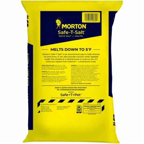 Morton Safe-T-Salt Halite Rock Salt Perspective: back