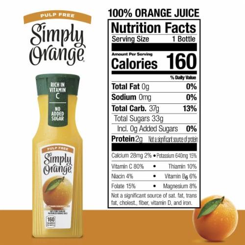 Simply Orange Pulp Free Orange Juice Perspective: back