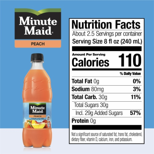 Minute Maid Peach Flavored Fruit Drink Perspective: back