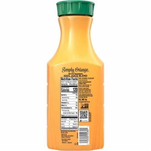Simply Orange with Mango Fruit Juice Drink Perspective: back
