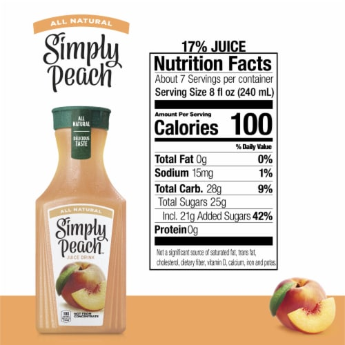 Simply Peach Fruit Juice Drink Perspective: back