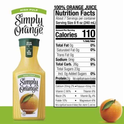 Simply Orange High Pulp Orange Juice Perspective: back