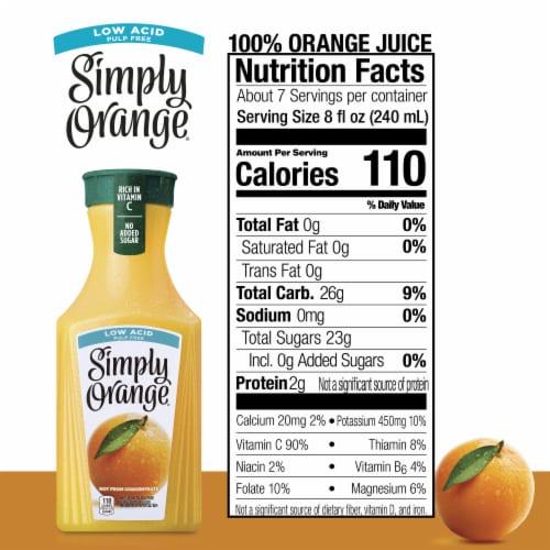 Simply Orange Low Acid & Pulp Free Juice Perspective: back