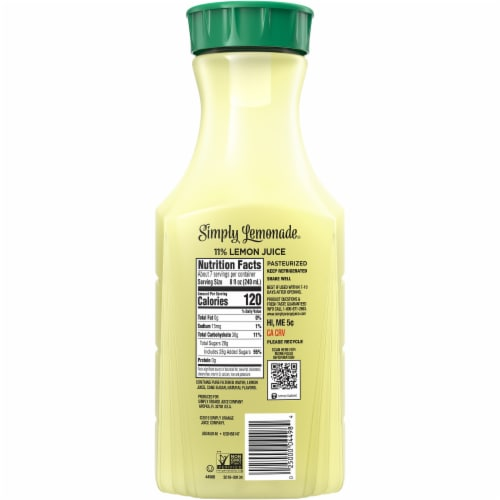 Simply Lemonade Juice Drink Perspective: back