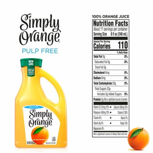 Simply Orange Calcium and Vtiamin D Pulp Free Orange Juice Perspective: back