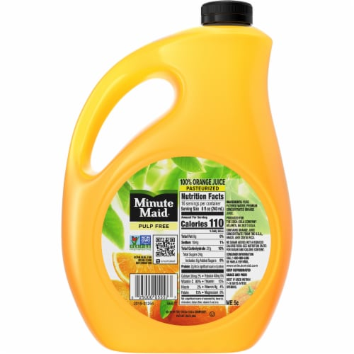 Minute Maid Pulp Free Orange Juice Perspective: back